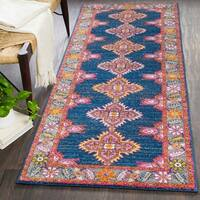 Haute-Hali Persian Boho Navy & Pink Runner Rug (2'7 x 7'3)