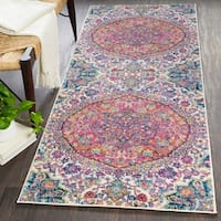 "Annie Pink & Ivory Bohemian Medallion Area Rug - 2'7"" x 7'3"""