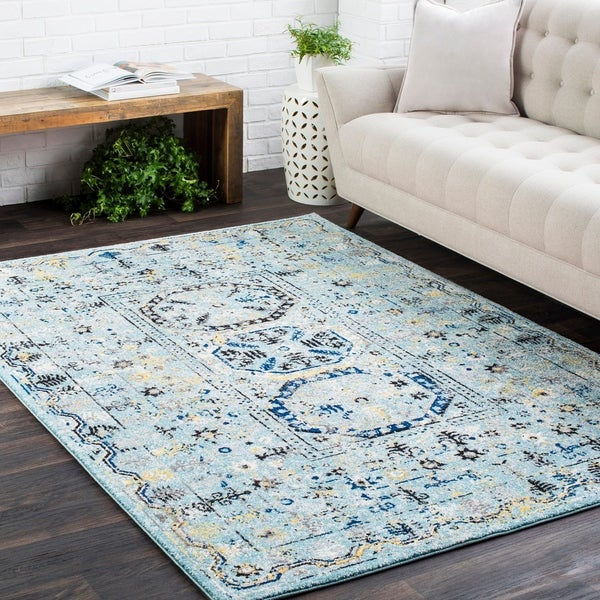 "Traditional Colonial Vintage Blue Runner Rug - 2'7"" x 7'3"""