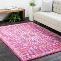 Bright Traditional Vintage Pink Runner Rug (2'7 x 7'3)