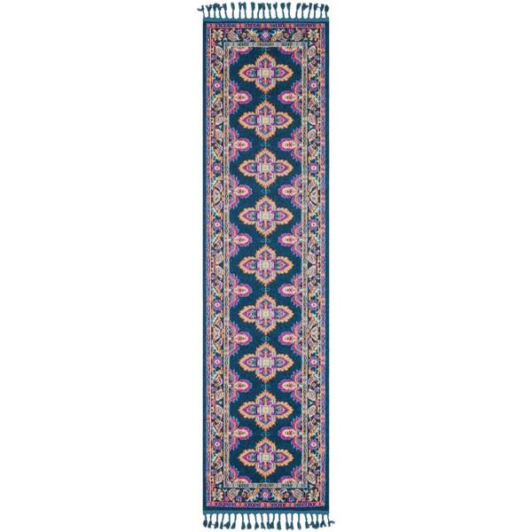 Boho Medallion Tassel Blue and PInk Runner Rug (2'7 x 10')