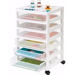 IRIS 6-Drawer Scrapbook Cart, 2 Pack (White)