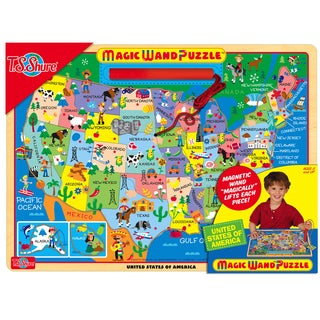 Map of the USA Wooden Magnetic Magic Wand Puzzle