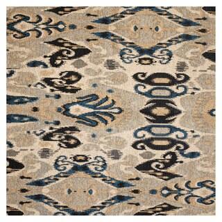 Herat Oriental Indo Hand-tufted Chenille Flatweave Ikat Rug (5' x 5')