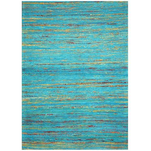 "Handmade Chenille Flatweave Rug (India) - 4' x 5'6"""