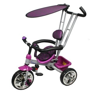 Trike with Push Bar and Flat Canopy - Purple
