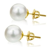 38dc0a05f DaVonna 14k Yellow Gold Round White Akoya High Luster AAA Pearl Screw-back  Stud Earrings