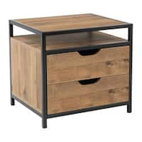 Quinton 2-Drawer Nightstand in Salvage Oak Laminate Finish