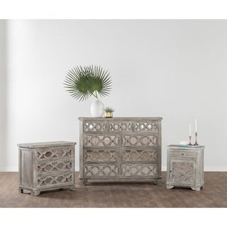 Leanne Rustic White Wood Nightstand by Kosas Home