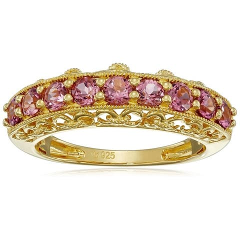 Yellow Gold-Plated Silver Pink Tourmaline Band Ring