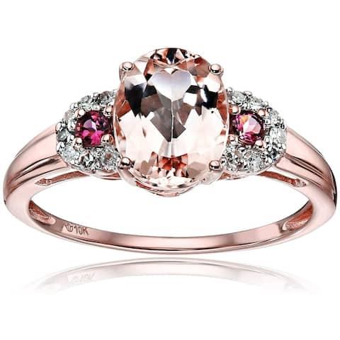 Pinctore 10k Rose Gold Morganite & Diamond 3-Stone Engagement Ring - Pink