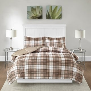 Madison Park Essentials Hartford Plaid Tan 3M Scotchgard Moisture Wicking Down Alternative Comforter Mini Set
