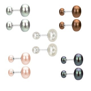 DaVonna Sterling Silver Front and Back Interchangeable 8-8.5mm, 10-10.5mm Button Shape Freshwater Double Pearl Stud Earrings