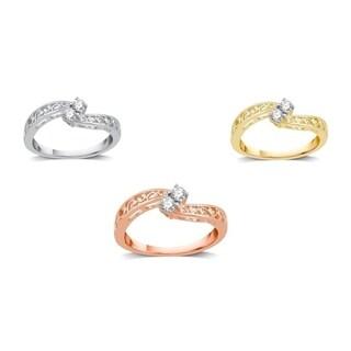 AMOUREUX 10k Gold 1/4 TDW Diamond Two-stone Bypass Ring (I/J, I1-I2) - White I-J