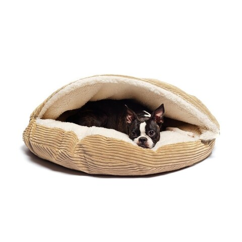 Precious Tails Cave Corduroy Round Cozy Dog and Cat Bed