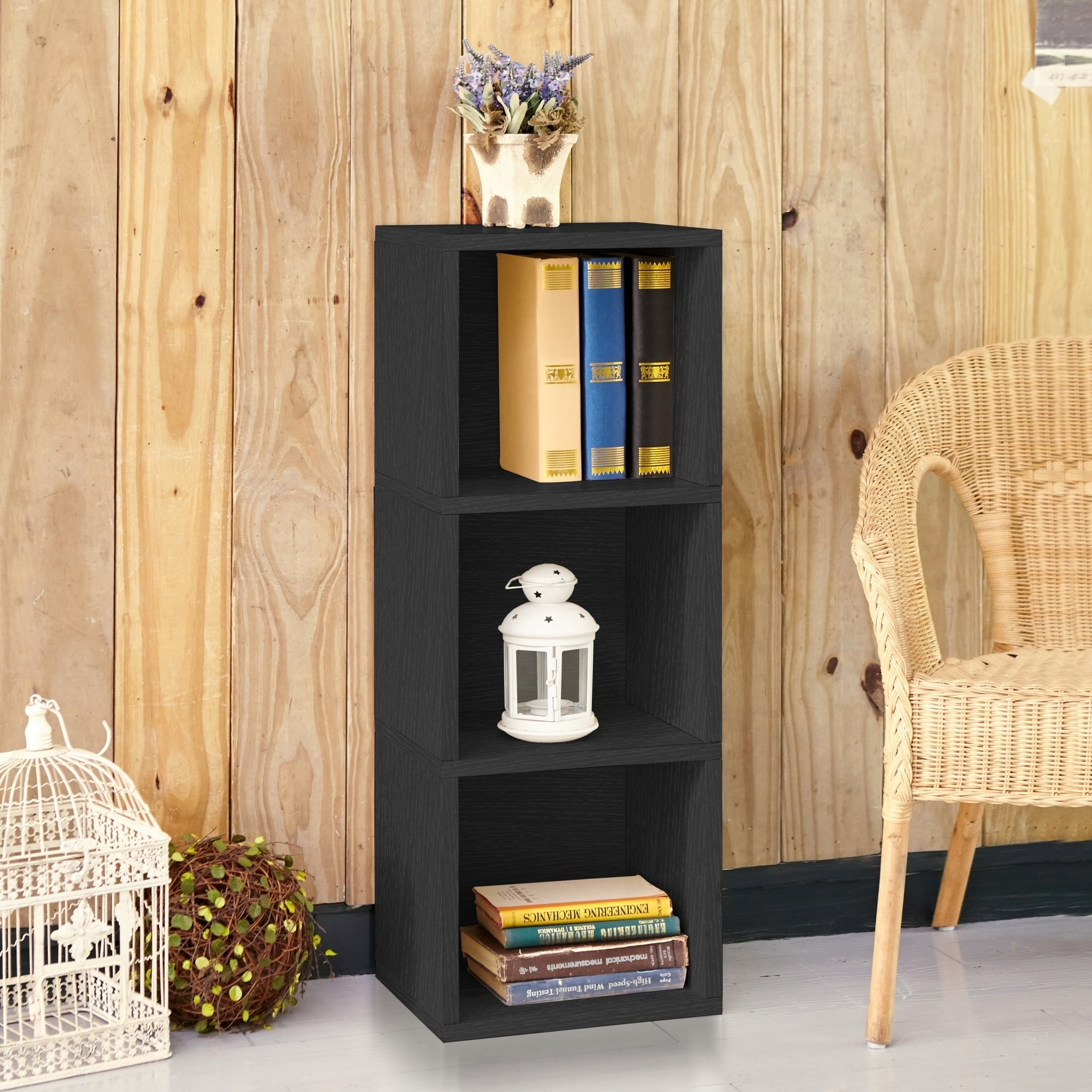 Wynwood Eco 3 Shelf Narrow Bookcase Storage Black Lifetime Guarantee