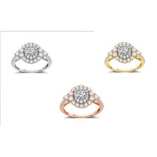 AMOUREUX 14k Gold 1-1/2 TDW Diamond Double Frame Bridal Ring (I/J, I1-I2) - White I-J