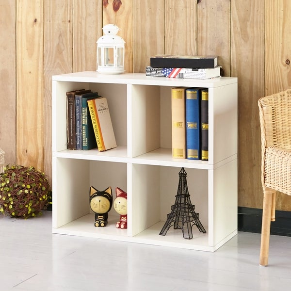 Clover Eco 4 Cubby Bookcase Storage White Lifetime Guarantee