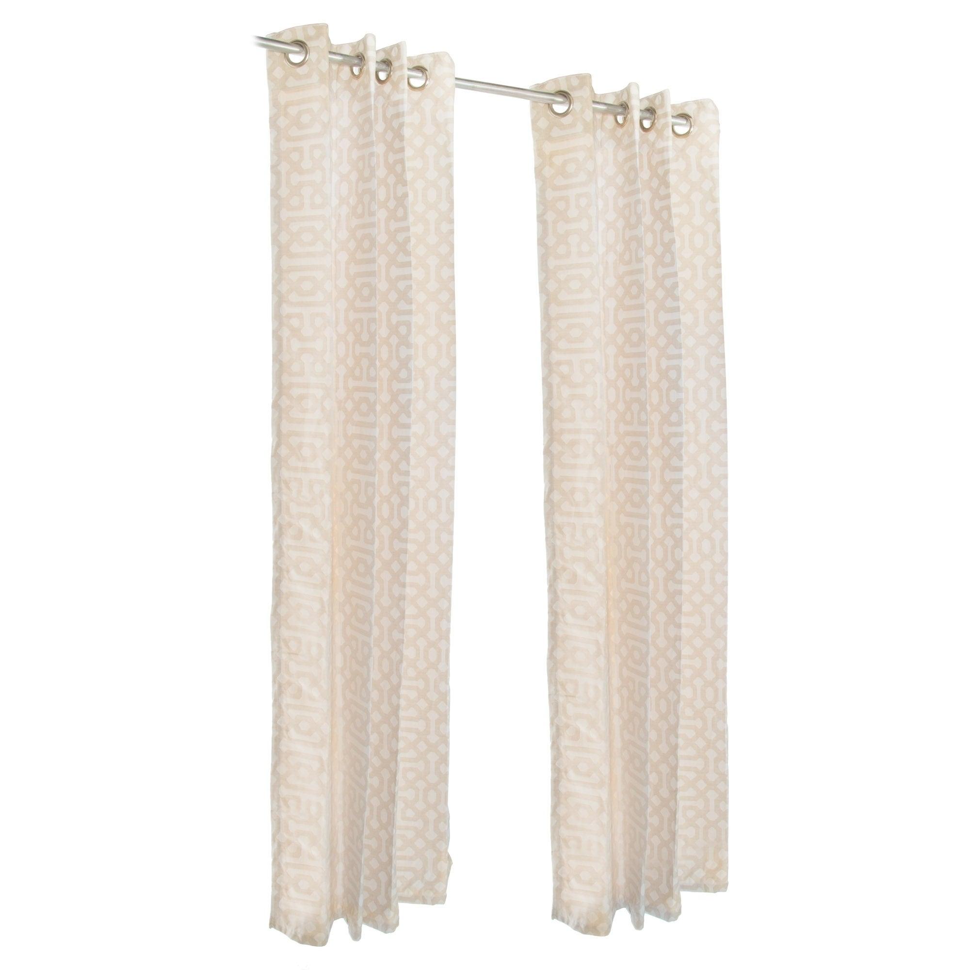 Pawleys Island Sunbrella Curtain - Fretwork Flax (120 Inc...