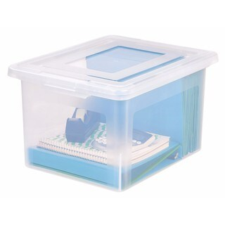 IRIS Letter/Legal Size File Box Storage, 4 Pack, Clear