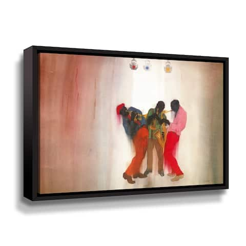 Porch & Den Jim Tanaka 'Black Brown and Beige' Gallery Wrapped Floater-framed Canvas Wall Art