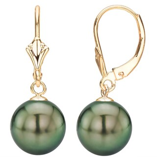 DaVonna 14K Yellow Gold Round Black South Sea Tahitian High Luster Pearl Leverback Dangle Earring.