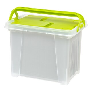 IRIS Letter Size Portable Wing Lid File Box with Handles (Pack of 4)