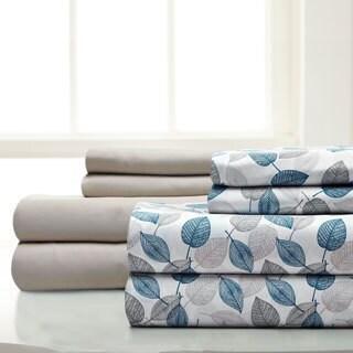 Amrapur Overseas 8-Piece Leaves Printed & Solid Microfiber Sheet Set
