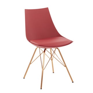 Palm Canyon Amapola Faux Leather Mid-century Bucket Chair with Gold Chrome Base (Option: Desert Rose)