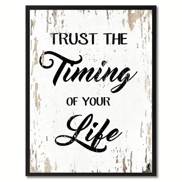 trust the timing of your life motivation quote saying canvas print picture frame home decor wall