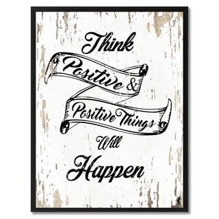 Think Positive & Positive Things Will Happen Inspirational Quote Saying Canvas Print Picture Frame Home Decor Wall Art