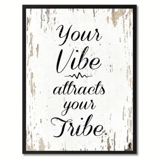 Your Vibe Attracts Your Tribe Inspirational Quote Saying Canvas Print Picture Frame Home Decor Wall Art