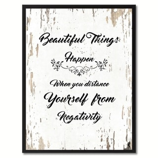 Beautiful Things Happen When You Distance Yourself From Negativity Motivation Quote Saying Canvas Print Picture Frame