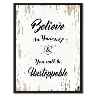 Believe In Yourself & You Will Be Unstoppable Motivation Quote Saying Canvas Print Picture Frame Home Decor Wall Art
