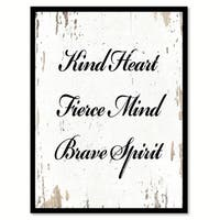Kind Heart Fierce Mind Brave Spirit Motivation Quote Saying Canvas Print Picture Frame Home Decor Wall Art