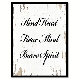 Kind Heart Fierce Mind Brave Spirit Motivation Quote Saying Canvas Print Picture Frame Home Decor Wall Art (4 options available)