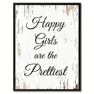 Happy Girls Are The Prettiest Happy Quote Saying Canvas Print Picture Frame Home Decor Wall Art