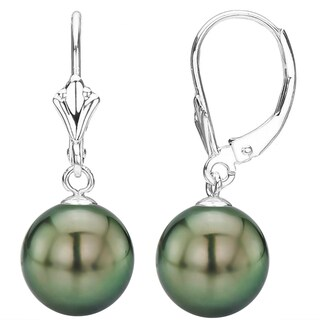 DaVonna 14K White Gold Round Black South Sea Tahitian High Luster Pearl Leverback Dangle Earring.