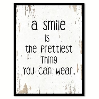 A Smile Is The Prettiest Thing You Can Wear Motivation Quote Saying Canvas Print Picture Frame Home Decor Wall Art