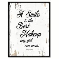 A Smile Is The Best Makeup Any Girl Can Wear Marilyn Monroe Quote Saying Canvas Print Picture Frame Home Decor Wall Art