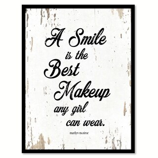 A Smile Is The Best Makeup Any Girl Can Wear Marilyn Monroe Quote Saying Canvas Print Picture Frame Home Decor Wall Art (4 options available)
