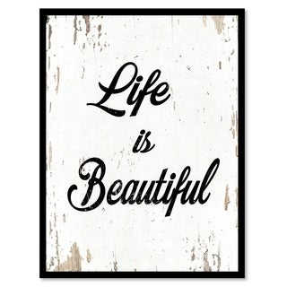 Life Is Beautiful Saying Canvas Print Picture Frame Home Decor Wall Art