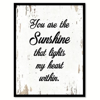 You Are The Sunshine That Lights My Heart Within Saying Canvas Print Picture Frame Home Decor Wall Art