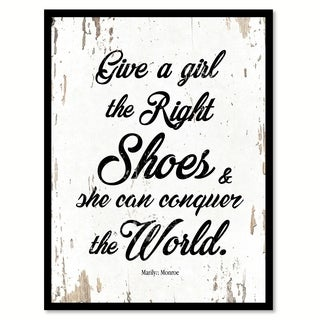 Give A Girl The Right Shoes & She Can Conquer The World Marilyn Monroe Saying Canvas Print Picture Frame