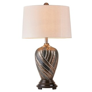 Ore International Lelei Curved Pattern Bronze Living Room Table Lamp
