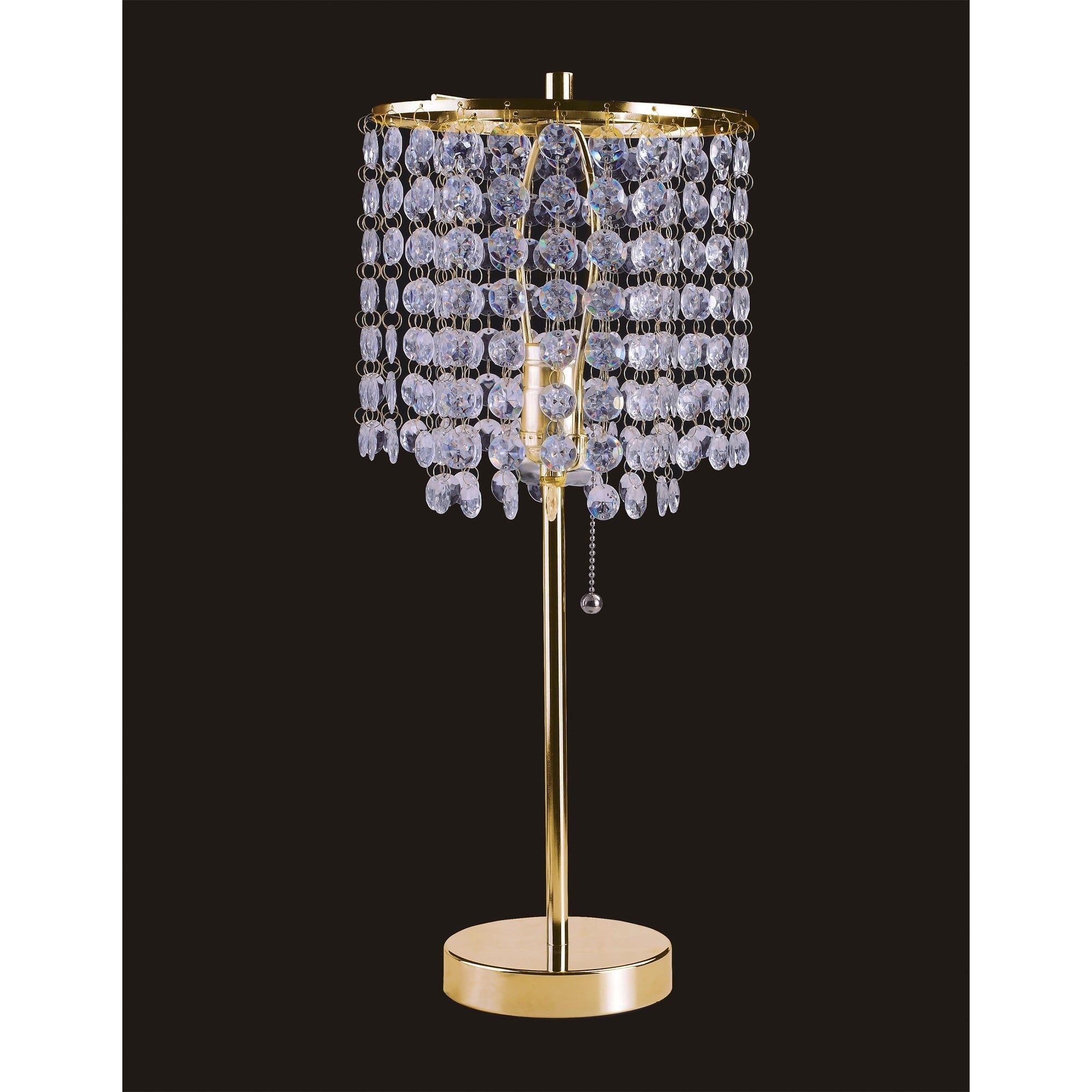 Ore International Deco Glam Stylish Gold Crystal Beaded Table Lamp Overstock 17488558