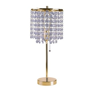 Ore International Deco Glam Stylish Gold Crystal Beaded Table Lamp