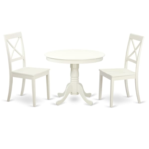 Shop Anbo Lwh W 3 Pc Set Table And 2 Wood Kitchen Chairs