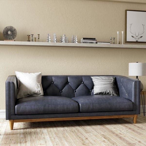 Shop Natty Black Button-tufted Leather Sofa (As Is Item ...