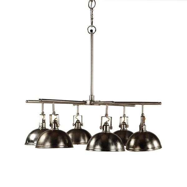 Antique Nickel Six Light Industrial Chandelier by World Interiors